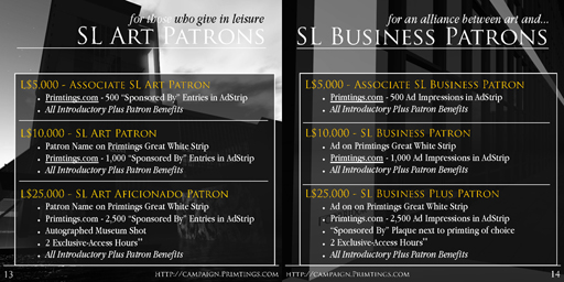 SL Art Patrons and SL Business Patrons